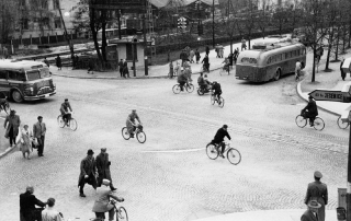 Slika: Prvi semafor v Ljubljani, 1956