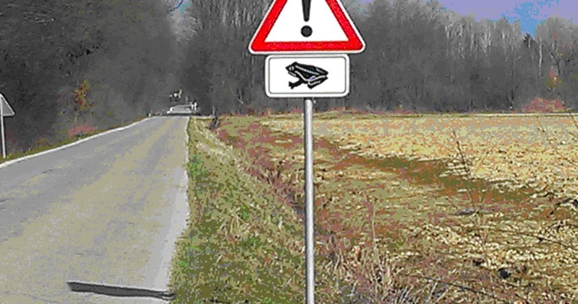 Znak pozor žabe