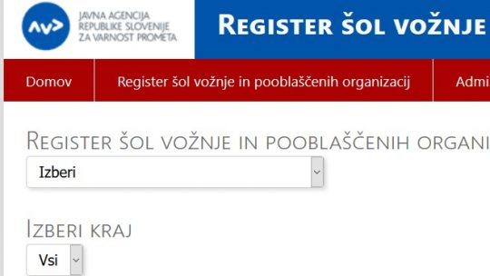 RPO – Register šol vožnje in pooblaščenih organizacij