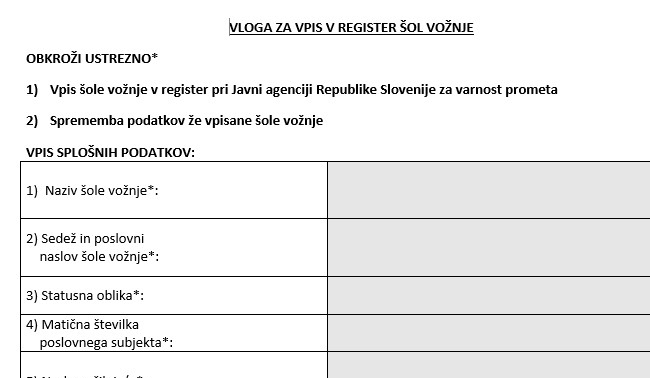 Vloga za vpis v register šol vožnje