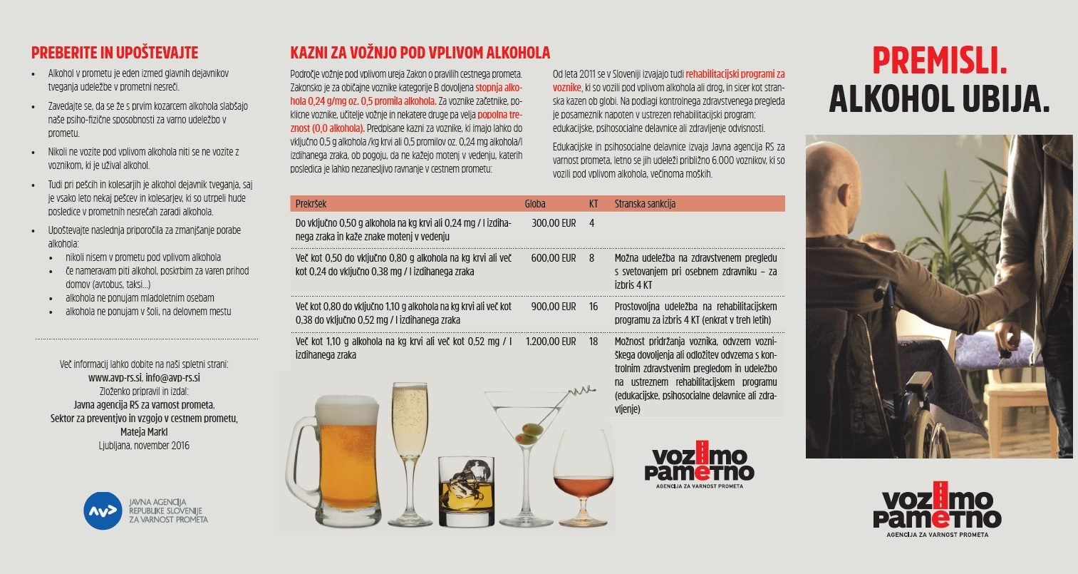Zloženka Premisli. Alkohol ubija.