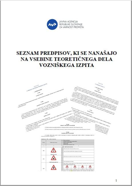 Seznam predpisov, ki se nanašajo na vsebine teoretičnega dela vozniškega izpita